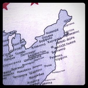 Vintage Russian/USA American Map Altered T-Shirt